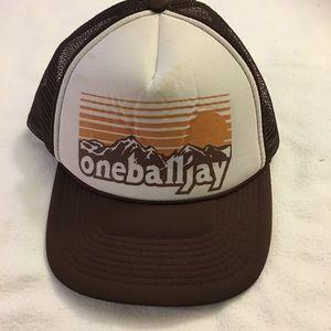 OneBallJay mesh brown trucker hat adjustable Mens